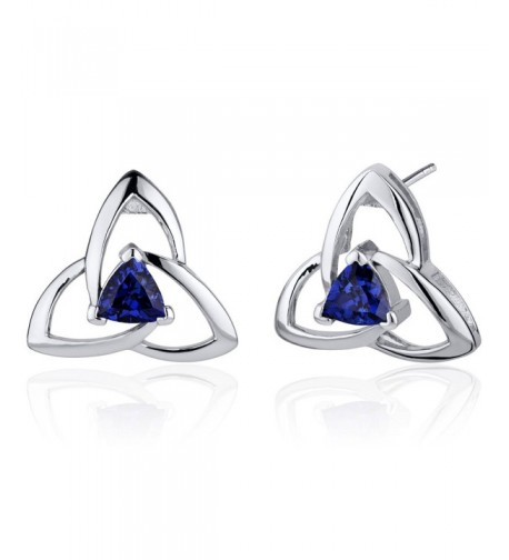 Created Sapphire Trinity Earrings Sterling