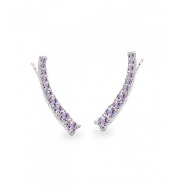 Sterling Amethyst Graduated Climber Earrings