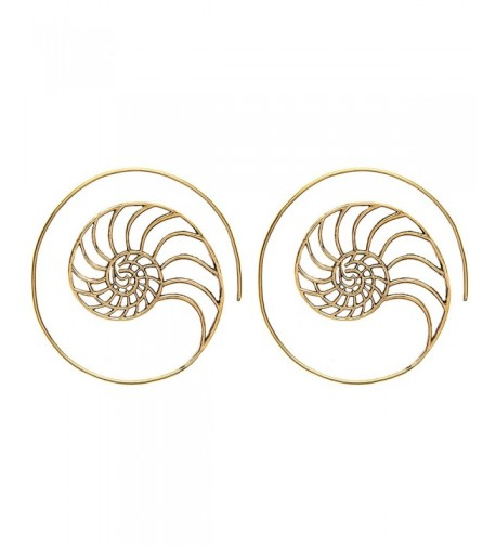 81stgeneration Womens Golden Spiral Earrings