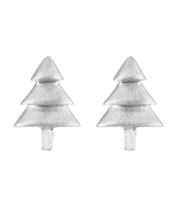 925 Sterling Silver Cute Simple Christmas Tree Hypoallergenic Stud