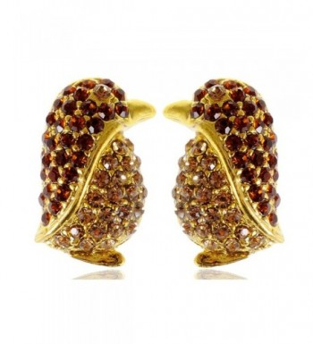 Alilang Colored Rhinestones Penguin Earrings