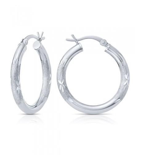 Sterling Silver Diamond Cut Earrings Diameter