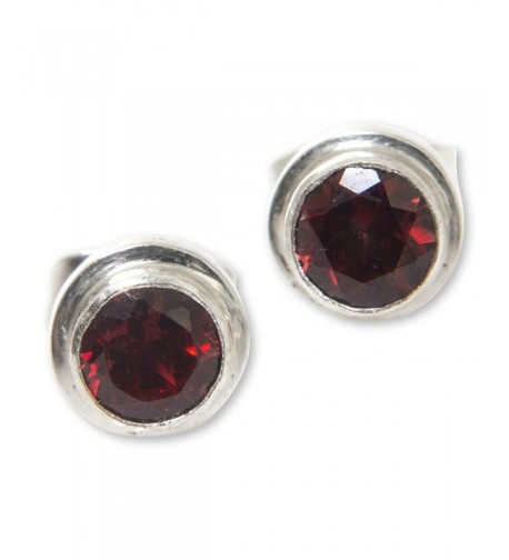 NOVICA Garnet Sterling Earrings Simplicity