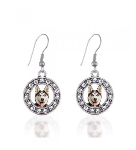 Siberian Circle Earrings Crystal Rhinestones