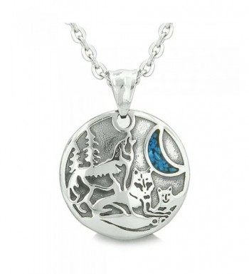 Howling Simulated Turquoise Pendant Necklace
