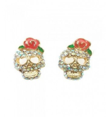 SKULLS CRYSTAL FLOWER EARRINGS ORGANZA