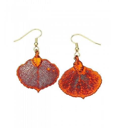 Irridescent Copper Plated Aspen Leaf Earrings
