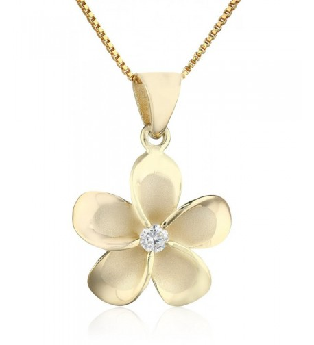Yellow Sterling Plumeria Pendant Necklace