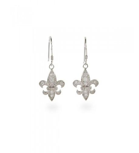 Dangle CZ Fleur Lis Earrings