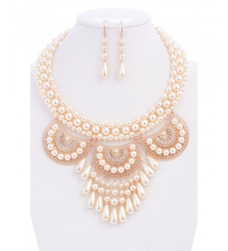 Simulated Casting Statement Necklace Earrings