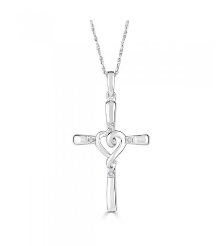 Diamond Necklace Rhodium Plated Sterling