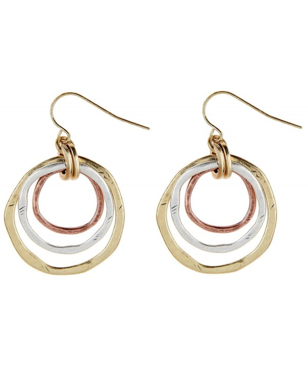 Rain Gold Tone Concentric Circles Earrings