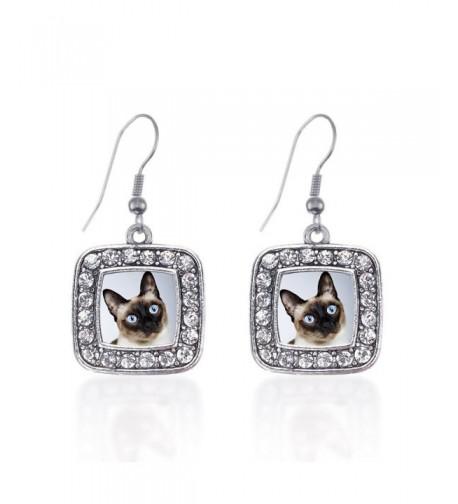 Inspired Silver Siamese Earrings Rhinestones