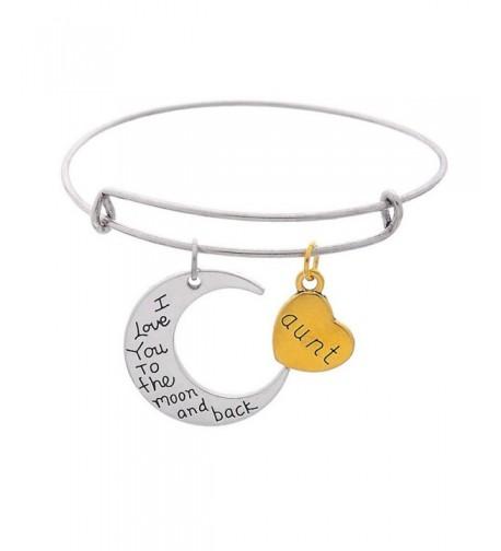 Heart Pendants Expandable Bangle Bracelet