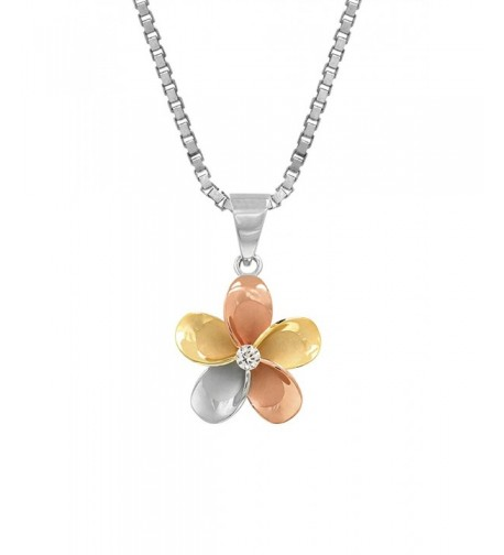 Tri Color Sterling Plumeria Necklace Millimeters