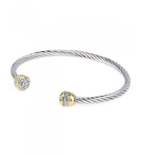 Pav Crystal Rhinestone Tone Bangle