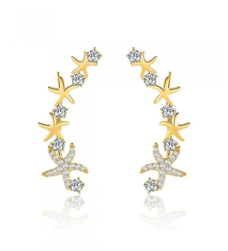 Mevecco Crawler Climber Earrings Jewelry Star3 GD