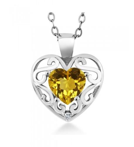 Heart Shape Citrine Silver Pendant