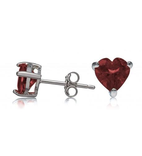 Sterling Silver Earrings Garnet Heart