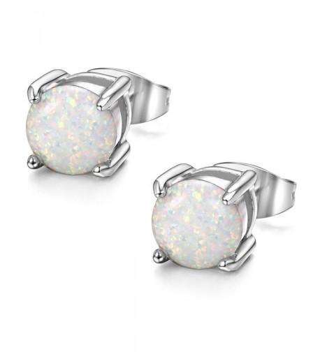 ORAZIO Stainless Created Opal Earrings Piercing