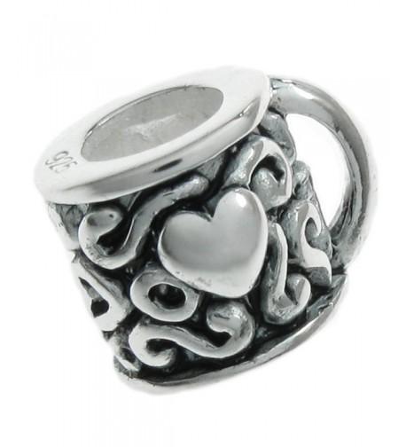 Sterling Silver Coffee Heart European