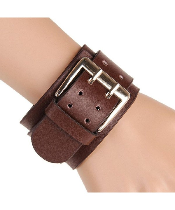 Susenstoneretro Wide Leather Bracelets Double Buckle