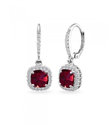 Sterling Created Cushion Cut Leverback Earrings