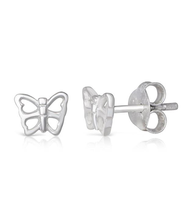 Sterling Silver Butterfly Rhodium Earrings