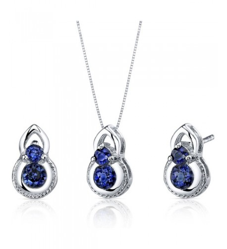 Created Sapphire Earrings Necklace Sterling